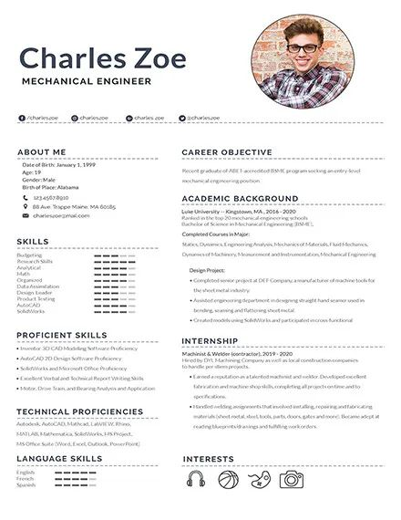 sample of a mechanical engineer resume