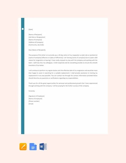 6+ Resignation Letter With 30 Day Notice Template - PDF, Word, Apple