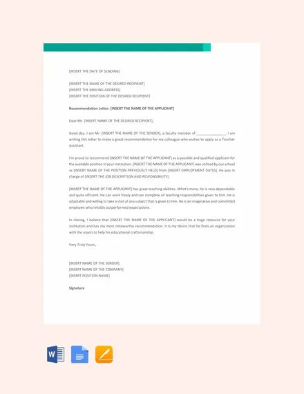 28+ Letters of Recommendation for Teacher - PDF, DOC Free