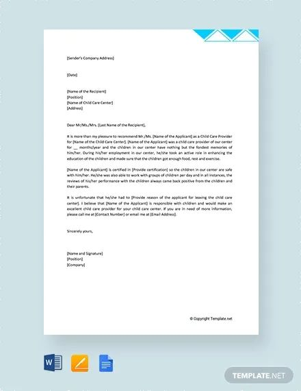 letter of recommendation for child care worker