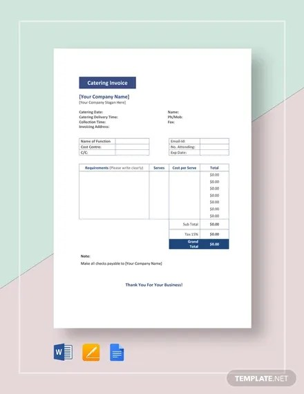 Catering Invoice Templates - 9+ Free Word, PDF Format Download