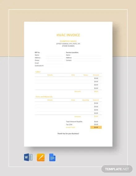 HVAC Invoice Template - 7+ Free Word, Excel, PDF Format Download