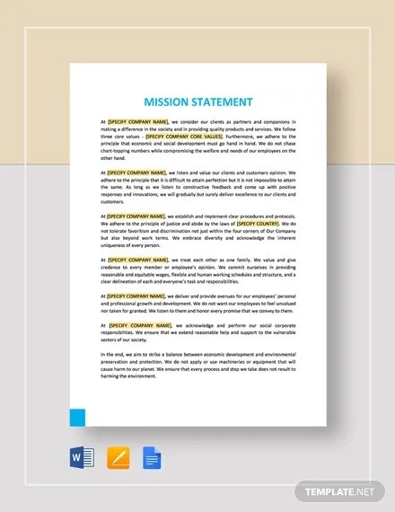 Mission Statement Template - 10+ Free Word, PDF Format Free