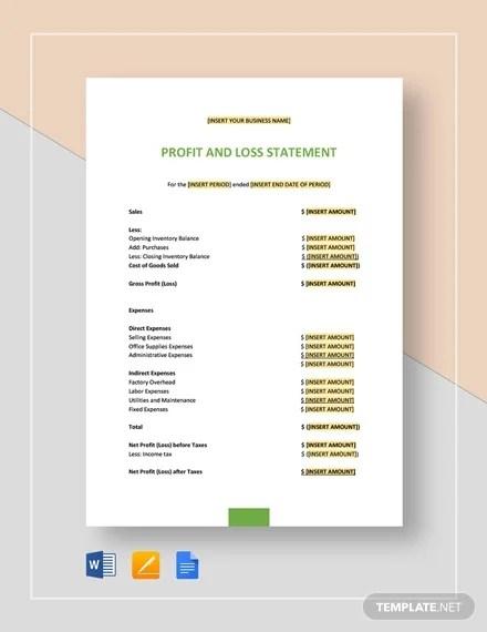 13+ Profit and Loss Statements - Word, PDF Free  Premium Templates