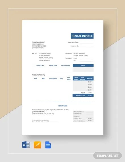 Rent Invoice Template - 8+ Free Word, PDF Format Download Free