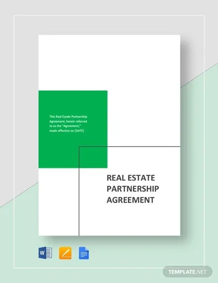 6+ Real Estate Partnership Agreement Templates - PDF, Word, Apple