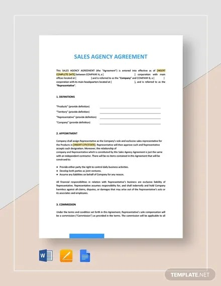 10+ Agency Agreement Templates - Word, PDF Free  Premium Templates