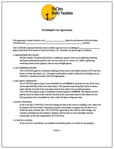 Wedding Event Contract Templates - Google Docs, MS Word, Pages, PDF