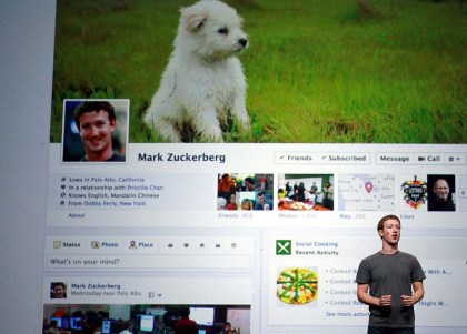 Facebook founder shows off the new Facebook profiles at the F8 conference last week.