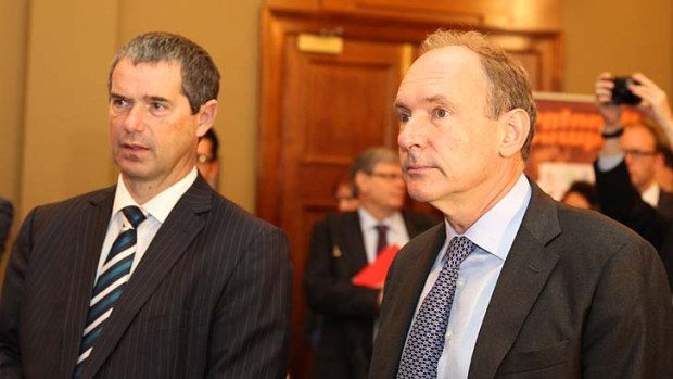 Sir Tim Berners-Lee and Communications Minister Senator Stephen Conroy in Sydney on Tuesday.