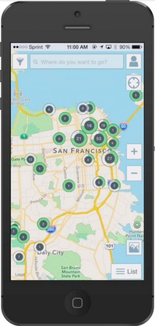 ChargePoint smartphone app for locating electric-car charging stations, Aug 2014