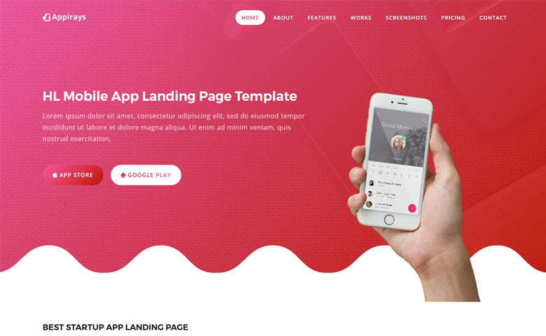 Appirays - Free HTML5 App Landing Page Design Template ThemeVault