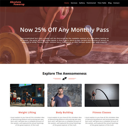 Absolute Powerup \u2013 Free HTML5 Sports Website Templates ThemeVault