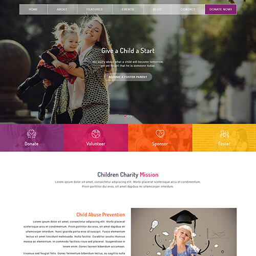 Responsive NGO Charity html5 website templates ThemeVault