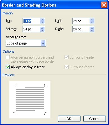 Chopped Off Page Borders (Microsoft Word)