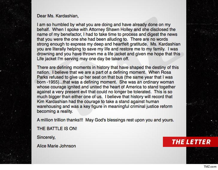 Kim Kardashian Gets Heartfelt Thank-You Note from Imprisoned Grandma