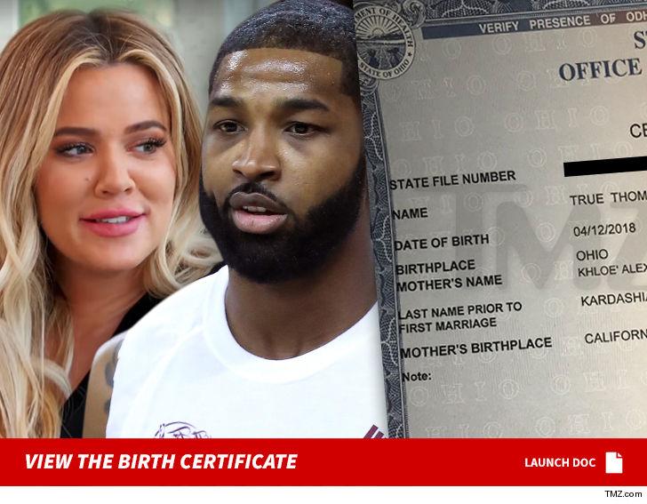 True Thompson Birth Certificate Confirms No Middle Name TMZ