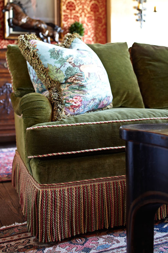 Overstuffed Couch Old-world Style In A Farmhouse | Traditional Home