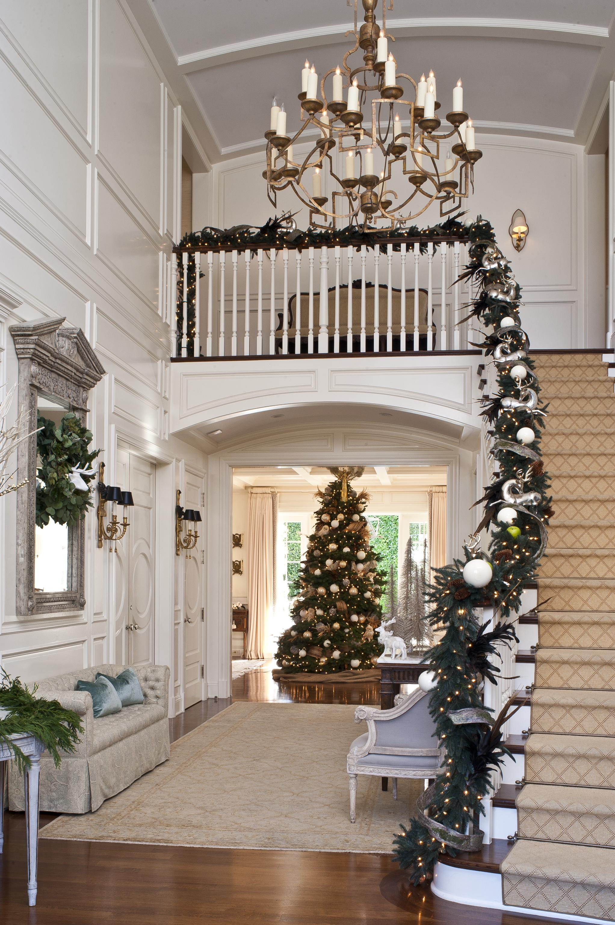 Staircases In Homes Festive Holiday Staircases And Entryways Traditional Home