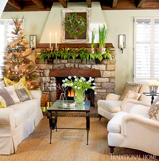 Decorating Holiday Mantels Traditional Home - christmas decorations for mantels