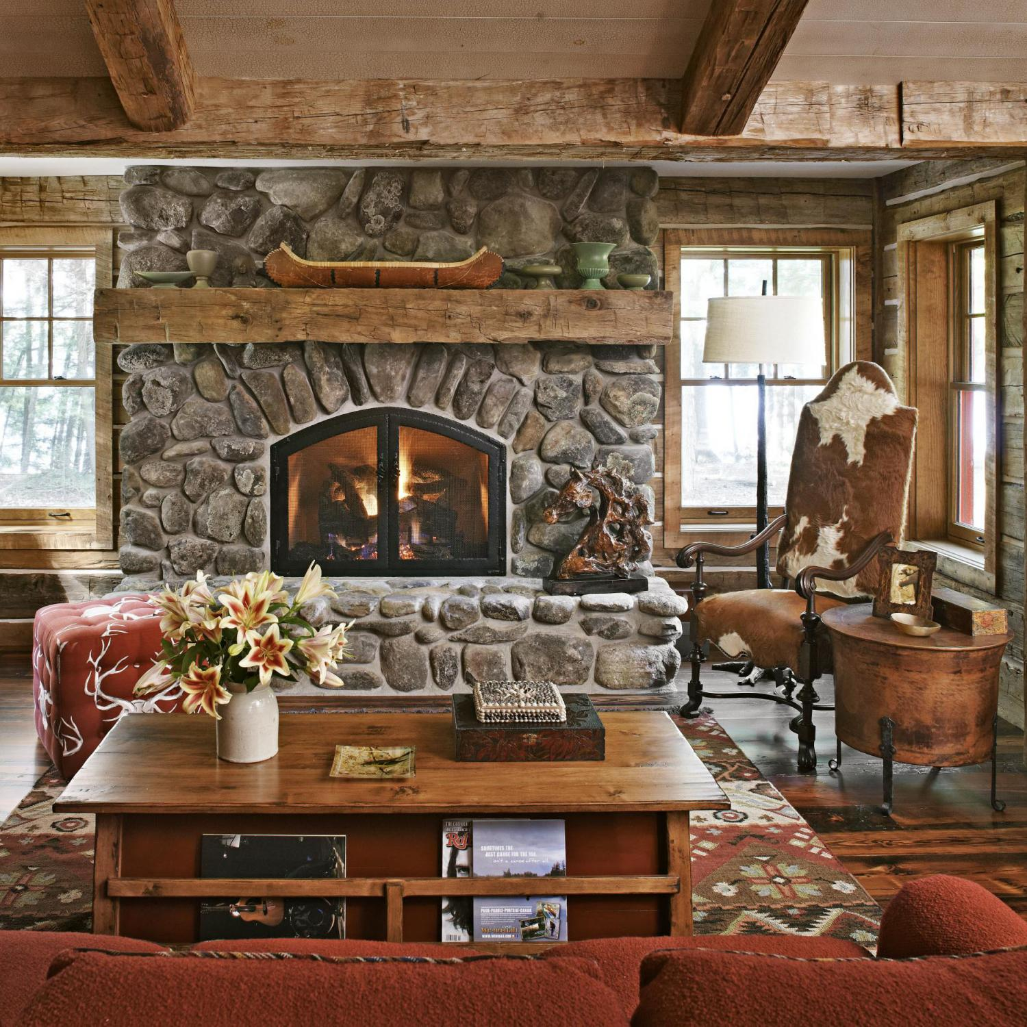Fall Cabin The Woods Wallpaper Get The Look Rustic Mantels Traditional Home