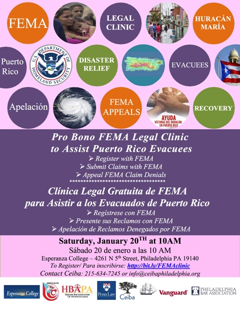 Legal Clinic to Help PR Evacuees Secure Disaster Relief From FEMA - disaster relief flyer