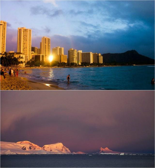Sunset in Waikiki and Antarctica