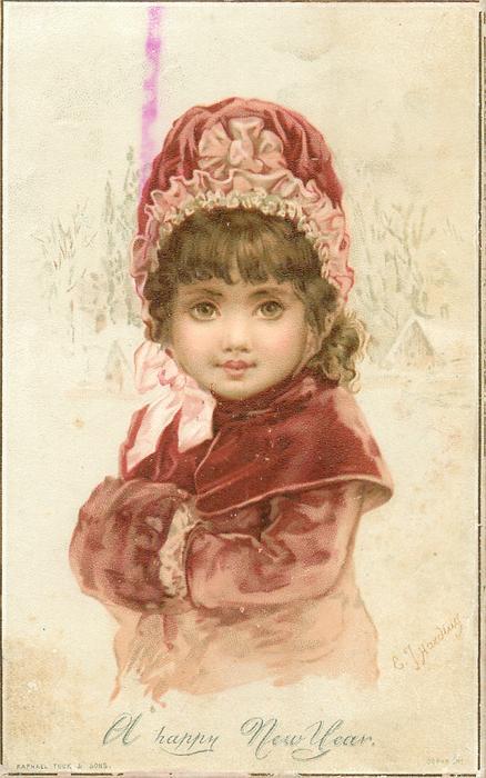 Happy New Year Girl Wallpaper Girl In Red Coat Cape Hat And Muff Tuckdb Ephemera