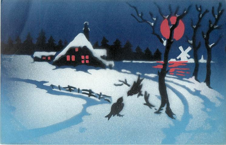 Free House Picture Winter Night Scene, Much Snow, Red Moon, Two Birds