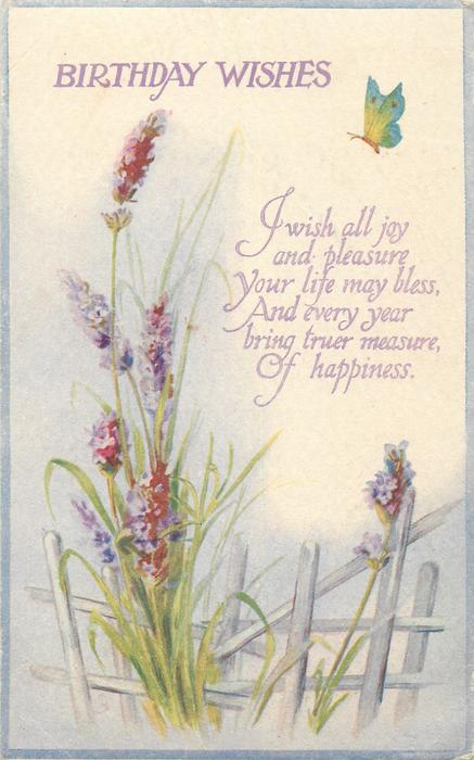 Wallpaper Design Birthday Wishes Lavender, Butterfly - Tuckdb Postcards