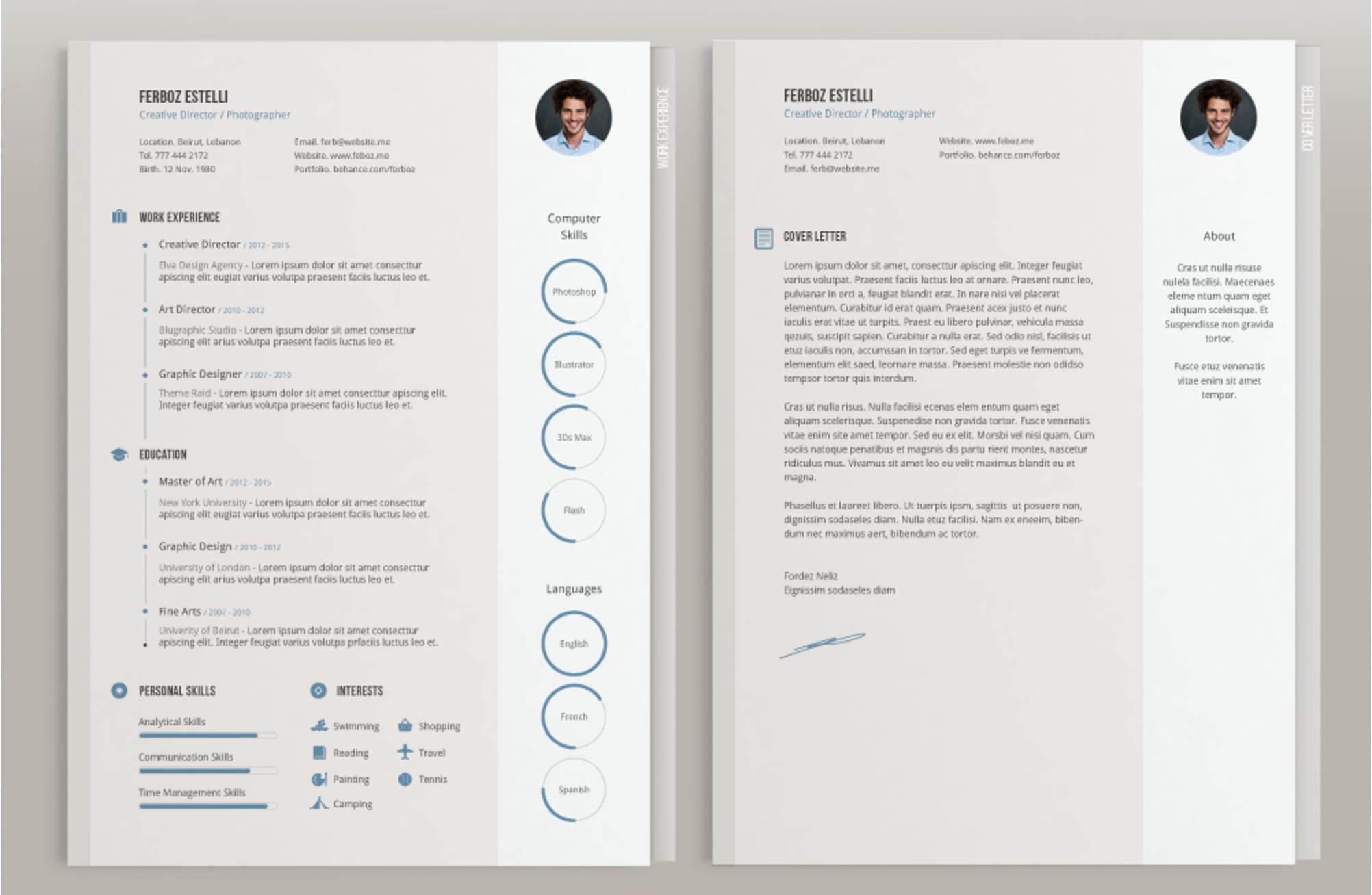 template cv lettre de motivation indesign
