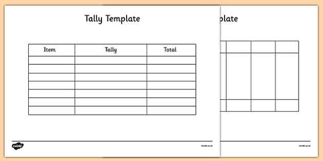 Tally Template - tally, template, tally chart, graph, maths - bar chart template