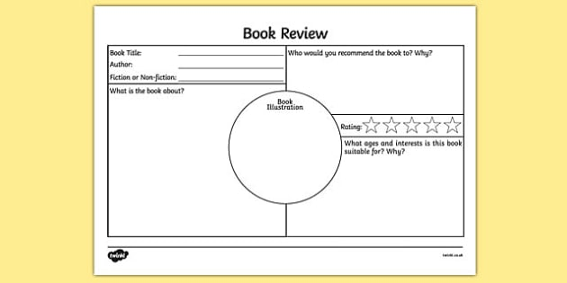 Book Review Activity Sheet - book review, book review sheet - printable book review template