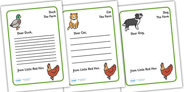 Little Red Hen Letter from Hen Writing Template - Little Red - letter writing template