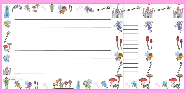 Fairy Full Page Borders (Landscape) - page border, border - lined border paper