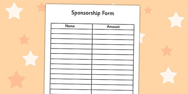 Blank sponsor form template renegadesolutionsus