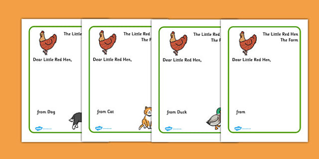 Little Red Hen Letter to Hen Writing Template - Little Red Hen - letter writing template