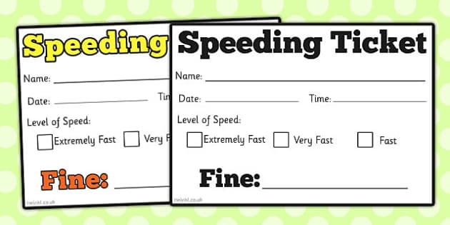 speeding ticket templates