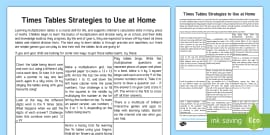 Editable Times Tables Parent And Carer Information Sheet