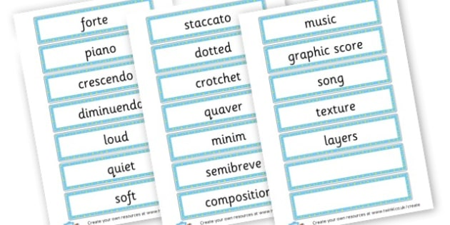 Music Key Word Cards - Music Primary Resources, musical