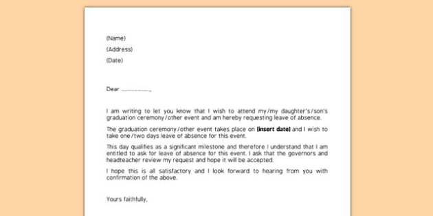 Editable Request for Leave of Absence Letter - request, leave - leave of absence letter