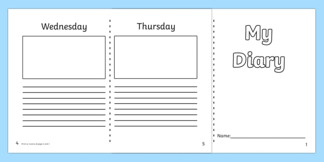 7 Day Diary Writing Frame - 7 day diary, writing frame, diary - 7 day weekly schedule template