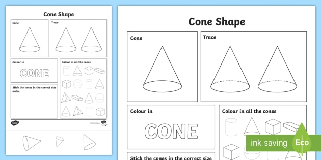 NEW * Cone Shape Worksheet - Cone Shape Worksheet - Cone shape