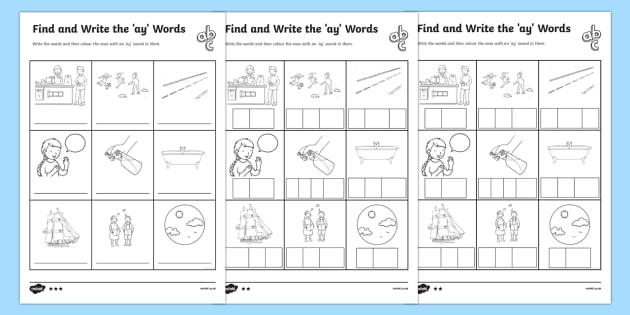 Find And Write The Ay Words Differentiated Worksheet