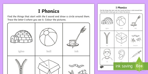 i Phonics Worksheet / Worksheet