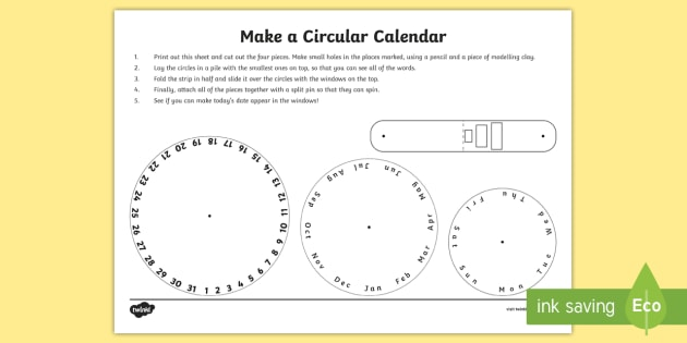 Make a Circular Calendar Activity - measures, maths, time - circular calendar