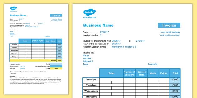 Childminder Invoice Shorter Version Template Spreadsheet - Child minder