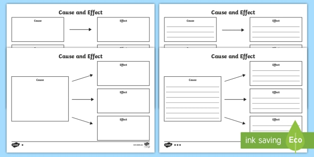 Cause and Effect Template Differentiated Worksheet / Worksheets