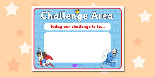 Challenge Area Editable Challenge Sign - Challenge, gifted and - editable signs