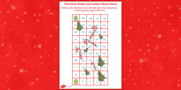 Snakes And Ladders Christmas Board Game 1 To 50 Christmas